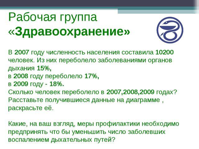 Рабочая группа «Здравоохранение» В 2007 году численность населения составила...