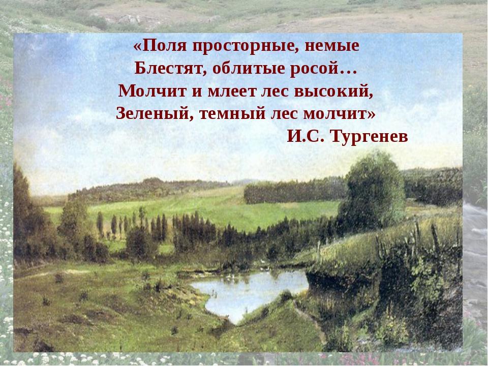 «Поля просторные, немые Блестят, облитые росой… Молчит и млеет лес высокий, З...