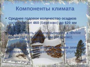 Компоненты климата Среднее годовое количество осадков составляет от 460 (Берё