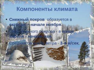 Компоненты климата Снежный покров образуется в октябре – начале ноября. Сход