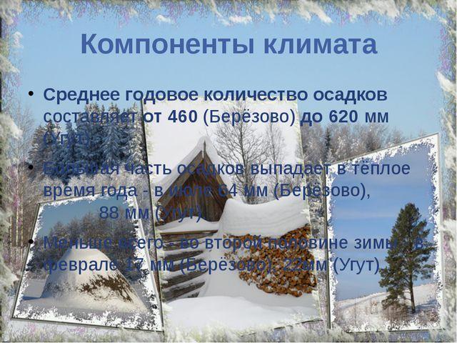 Компоненты климата Среднее годовое количество осадков составляет от 460 (Берё...