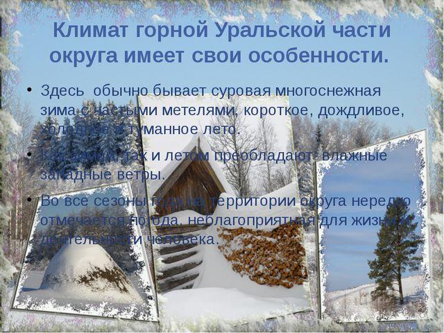 Климат горной Уральской части округа имеет свои особенности. Здесь обычно быв...