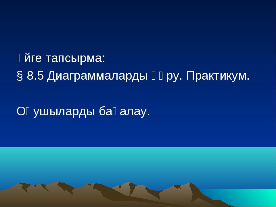 Үйге тапсырма: § 8.5 Диаграммаларды құру. Практикум. Оқушыларды бағалау.