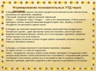 1.Загадки, в которых дается описание предмета или явления путем перечисления