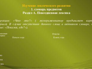 Изучение лексического развития 1. словарь предметов Раздел А. Повседневная ле