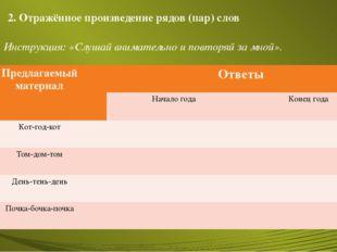 2. Отражённое произведение рядов (пар) слов Инструкция: «Слушай внимательно и