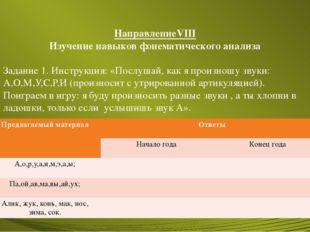 НаправлениеVIII Изучение навыков фонематического анализа Задание 1. Инструкци