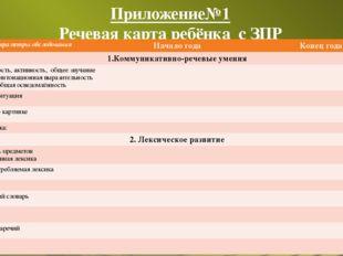 Приложение№1 Речевая карта ребёнка с ЗПР Параметры обследования Начало года К