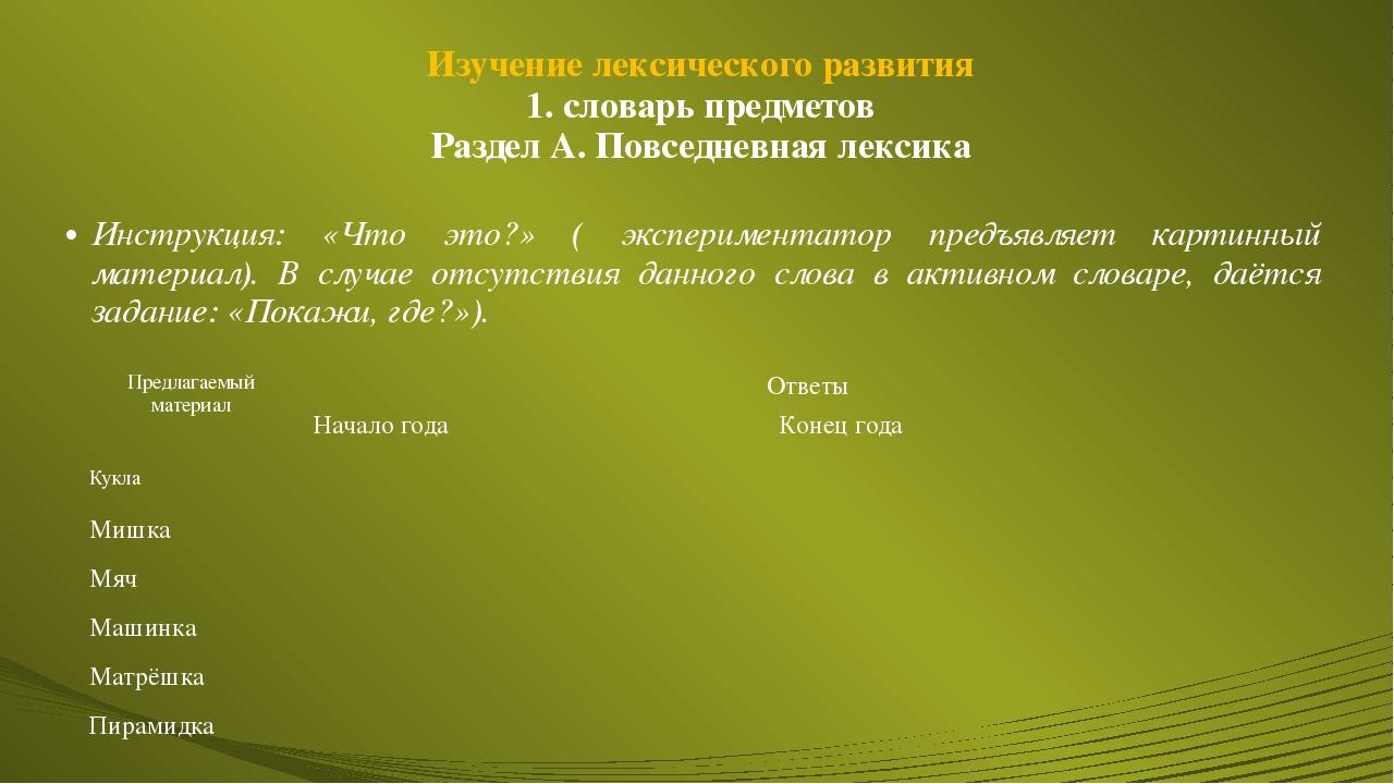Изучение лексического развития 1. словарь предметов Раздел А. Повседневная ле...