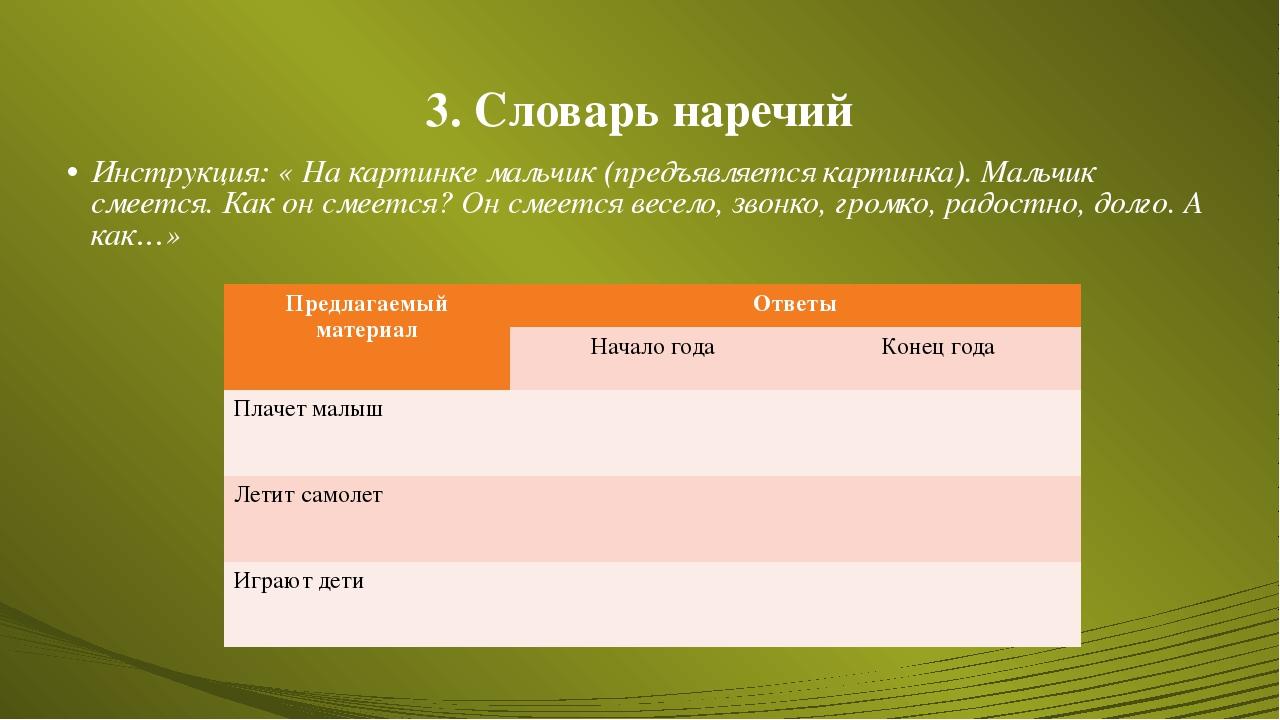 3. Словарь наречий Инструкция: « На картинке мальчик (предъявляется картинка)...