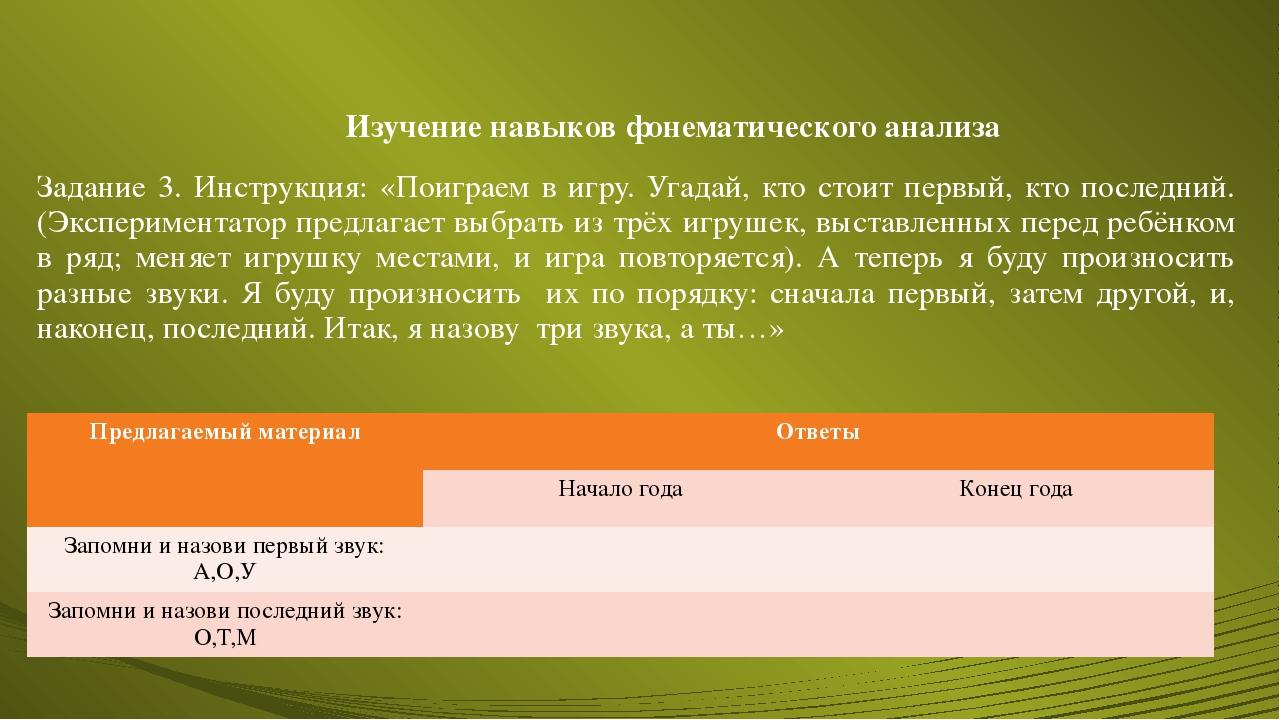 Изучение навыков фонематического анализа Задание 3. Инструкция: «Поиграем в и...