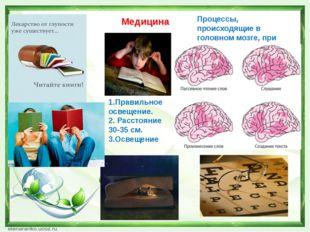 Медицина Процессы, происходящие в головном мозге, при чтении. 1.Правильное ос