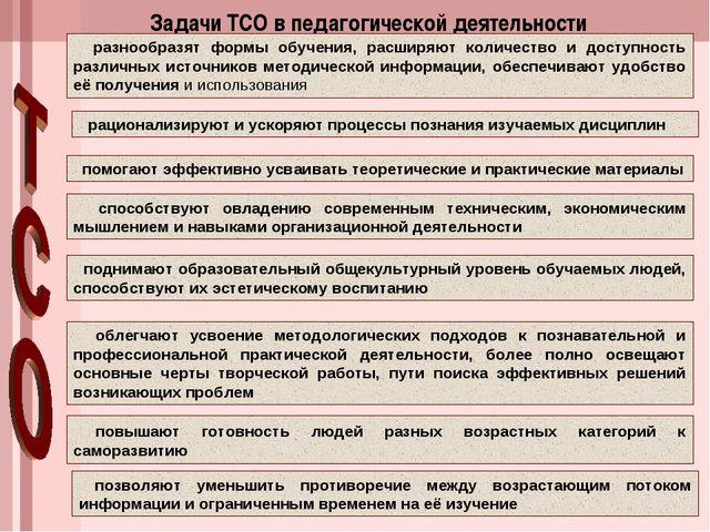 Задачи ТСО в педагогической деятельности разнообразят формы обучения, расширя...