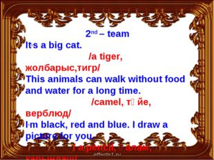 2nd – team It,s a big cat. /a tiger, жолбарыс,тигр/ This animals can walk wit