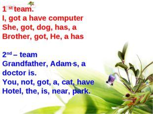 1 st team. I, got a have computer She, got, dog, has, a Brother, got, He, a h