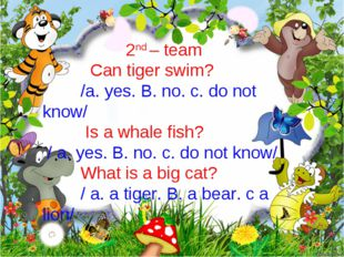 2nd – team Can tiger swim? /a. yes. B. no. c. do not know/ Is a whale fish? /