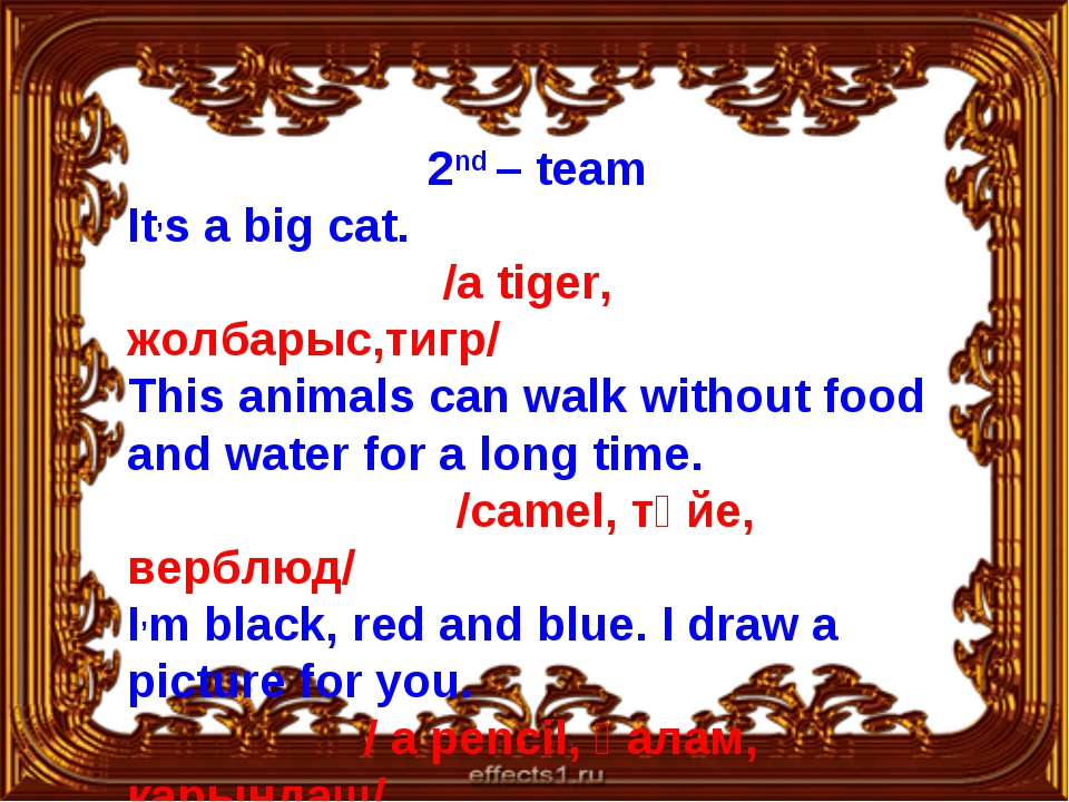 2nd – team It,s a big cat. /a tiger, жолбарыс,тигр/ This animals can walk wit...