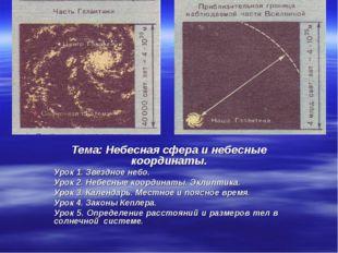 Тема: Небесная сфера и небесные координаты. Урок 1. Звездное небо. Урок 2. Не