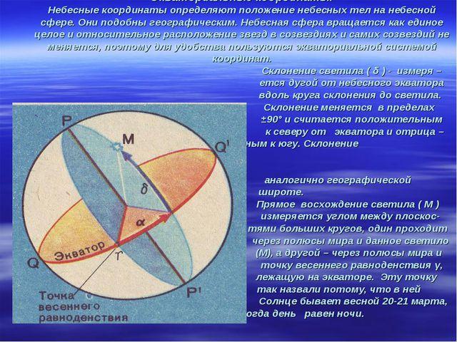 Экваториальные координаты. Небесные координаты определяют положение небесных...