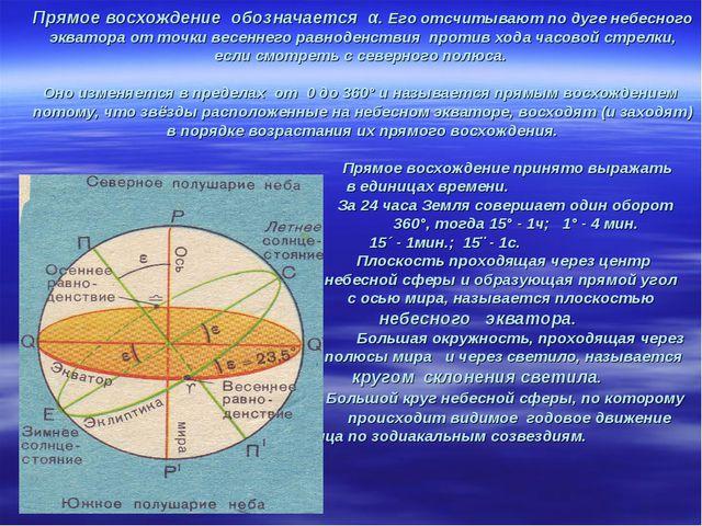Прямое восхождение обозначается α. Его отсчитывают по дуге небесного экватора...