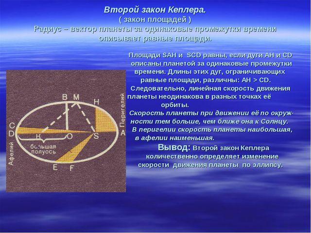 Второй закон Кеплера. ( закон площадей ) Радиус – вектор планеты за одинаковы...