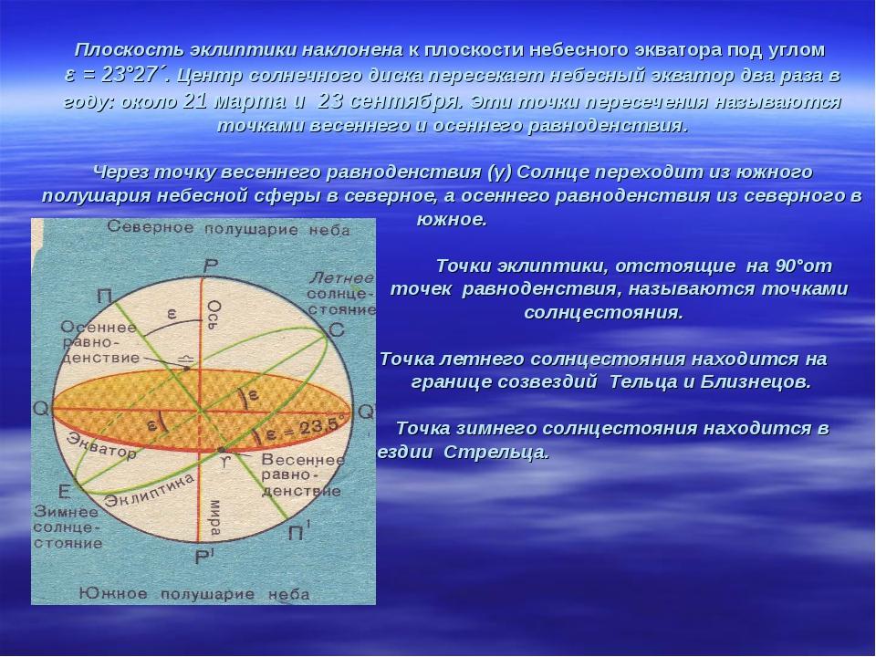 Плоскость эклиптики наклонена к плоскости небесного экватора под углом ε = 23...