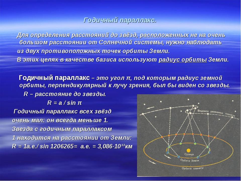 Годичный параллакс. Для определения расстояний до звёзд, расположенных не на...