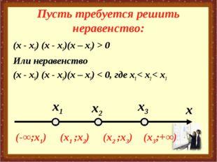 Пусть требуется решить неравенство: (х - х1) (х - х2)(х – х3) > 0 Или неравен