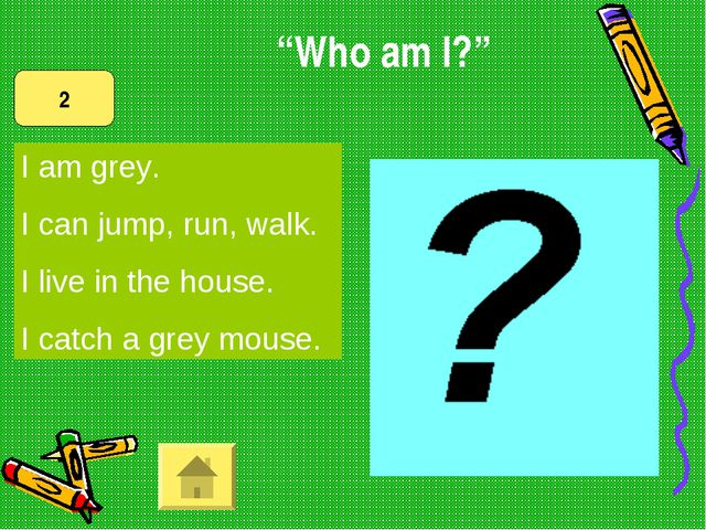 I am grey. I can jump, run, walk. I live in the house. I catch a grey mouse....