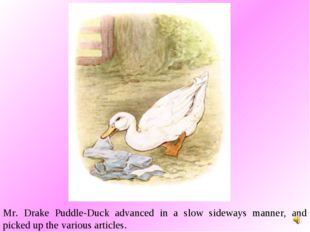 Mr. Drake Puddle-Duck advanced in a slow sideways manner, and picked up the v