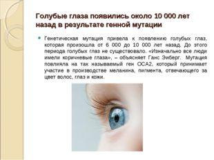 Голубые глаза появились около 10 000 лет назад в результате генной мутации Ге