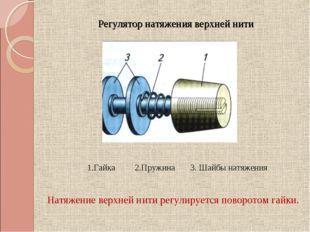 Регулятор натяжения верхней нити 1.Гайка 2.Пружина 3. Шайбы натяжения Натяжен