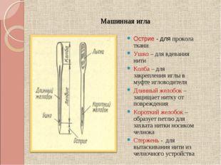 Машинная игла Острие - для прокола ткани Ушко – для вдевания нити Колба – для