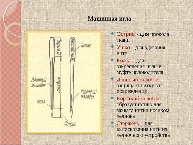 Машинная игла Острие - для прокола ткани Ушко – для вдевания нити Колба – для...