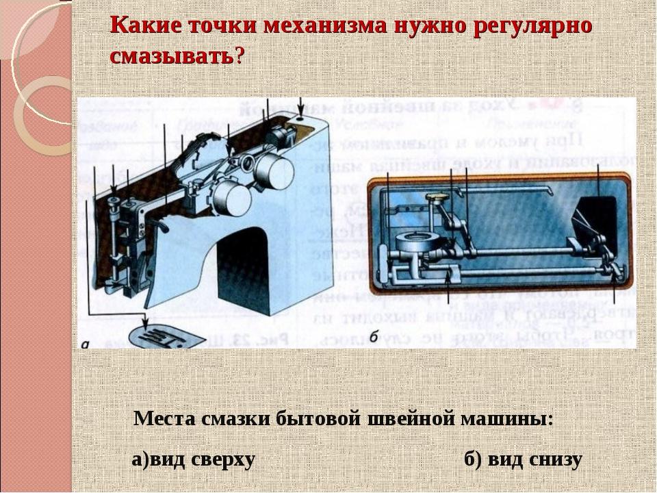 Места смазки бытовой швейной машины: а)вид сверху б) вид снизу Какие точки ме...