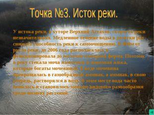 У истока реки, в хуторе Верхний Астахов, скорость реки незначительная. Медлен