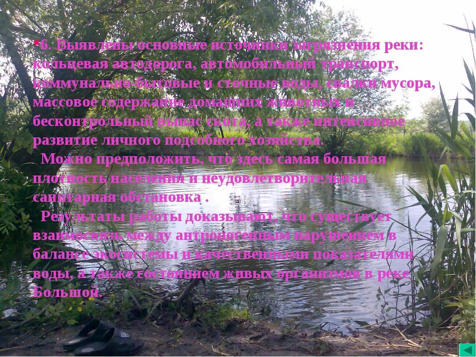 6. Выявлены основные источники загрязнения реки: кольцевая автодорога, автомо...