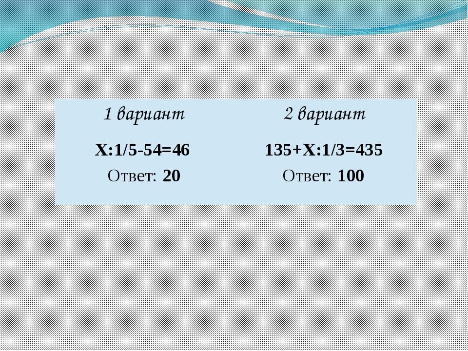 Ответ: 100 Ответ: 20 1 вариант 2 вариант Х:1/5-54=46 135+Х:1/3=435