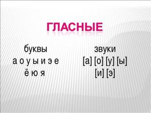буквы а о у ы и э е ё ю я звуки [а] [о] [у] [ы] [и] [э]