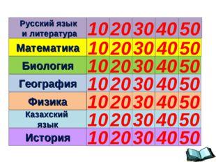 Русский язык и литература Математика Биология География Физика Казахский язык