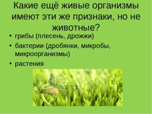 Какие ещё живые организмы имеют эти же признаки, но не животные? грибы (плесе