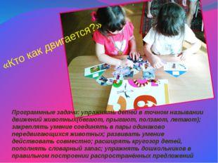 Программные задачи: упражнять детей в точном назывании движений животных(бега
