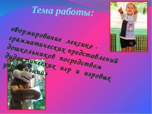 Тема работы: «Формирование лексико - грамматических представлений дошкольнико