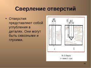 * Сверление отверстий Отверстия представляют собой углубления в деталях. Они