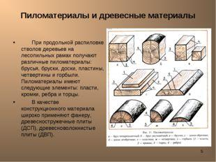 * Пиломатериалы и древесные материалы При продольной распиловке стволов дерев