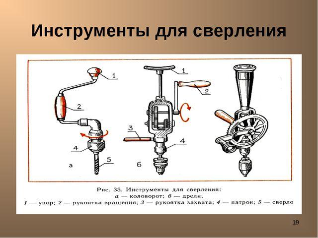 * Инструменты для сверления