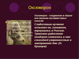 Оксюморон Оксюморон - соединение в образе или явлении несовместимых понятий С