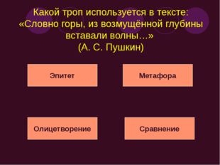Какой троп используется в тексте: «Словно горы, из возмущённой глубины встава