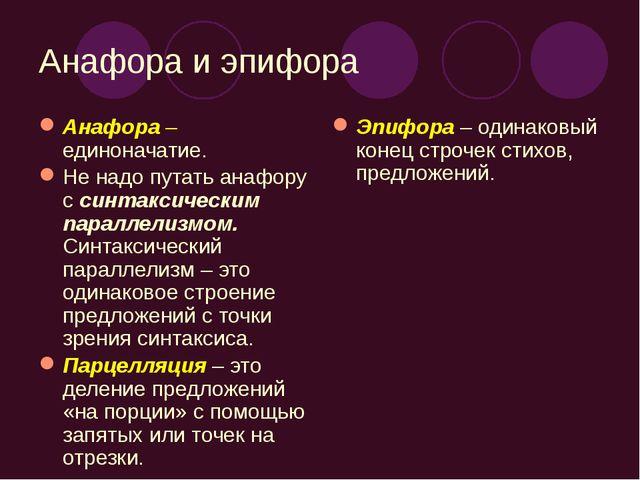 Анафора и эпифора Анафора – единоначатие. Не надо путать анафору с синтаксиче...