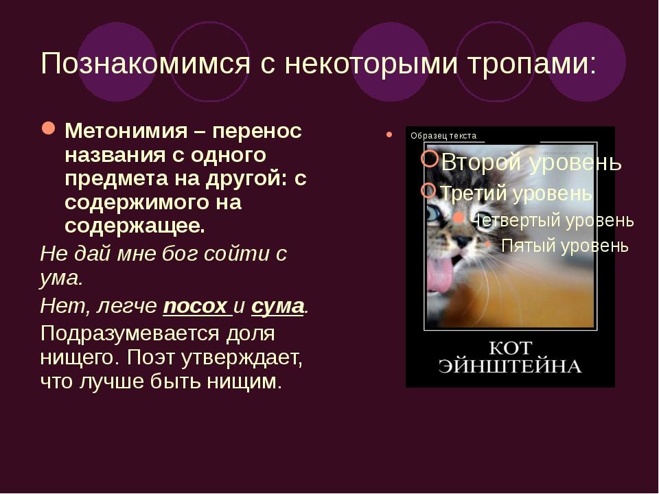 Познакомимся с некоторыми тропами: Метонимия – перенос названия с одного пред...